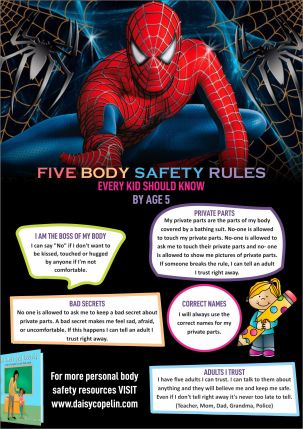 Five Body Safety Rules spider man theme